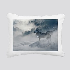 Beautiful Wolves In The Winter Rectangular Canvas