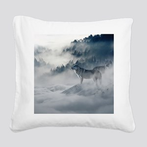 Beautiful Wolves In The Winter Square Canvas Pillo