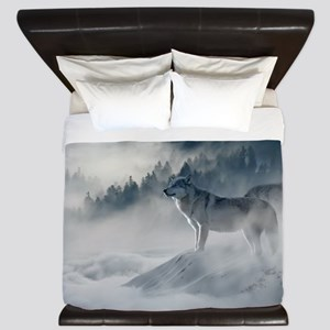 Beautiful Wolves In The Winter King Duvet