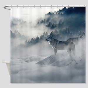 Beautiful Wolves In The Winter Shower Curtain
