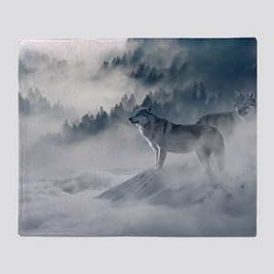 Beautiful Wolves In The Winter Throw Blanket