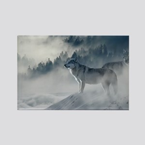 Beautiful Wolves In The Winter Magnets