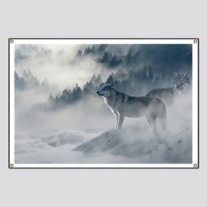 Beautiful Wolves In The Winter Banner