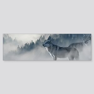 Beautiful Wolves In The Winter Bumper Sticker