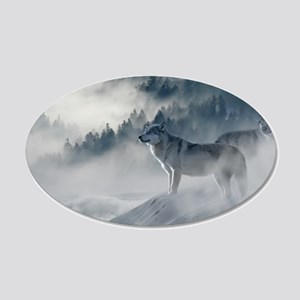 Beautiful Wolves In The Winter Wall Sticker