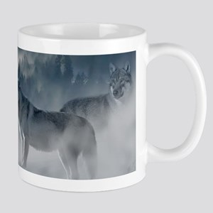 Beautiful Wolves In The Winter Mugs