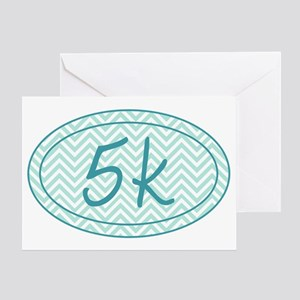 5k Blue Chevron Greeting Card