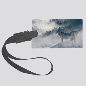Beautiful Wolves In The Winter Large Luggage Tag