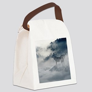 Beautiful Wolves In The Winter Canvas Lunch Bag