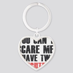 I have two daughters Heart Keychain