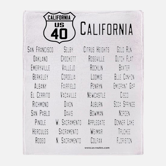 US Route 40 California cities Throw Blanket