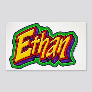 Ethan Graffiti Letters Name Design 3'x5' Area Rug