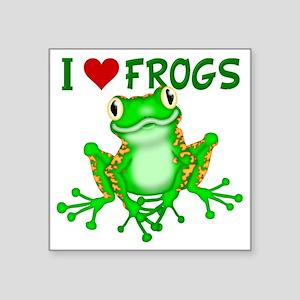 "I  Love (Heart) Frogs Square Sticker 3"" x 3"""