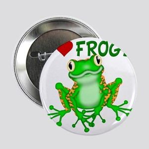 """I  Love (Heart) Frogs 2.25"""" Button"""