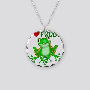I  Love (Heart) Frogs Necklace Circle Charm