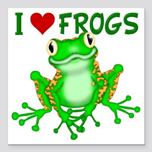 """I  Love (Heart) Frogs Square Car Magnet 3"""" x 3"""""""