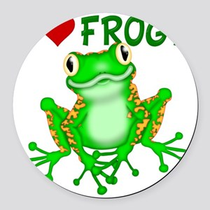 I  Love (Heart) Frogs Round Car Magnet