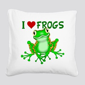 I  Love (Heart) Frogs Square Canvas Pillow