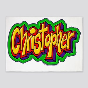 Christopher Graffiti Letters Name D 5'x7'Area Rug