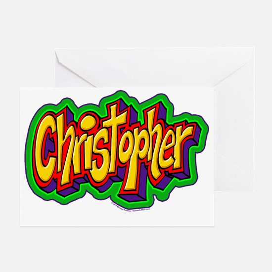 Christopher Graffiti Letters Name De Greeting Card