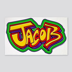 Jacob Graffiti Letters Name Design 3'x5' Area Rug
