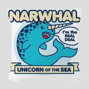 Narwhal Woven Throw Pillow
