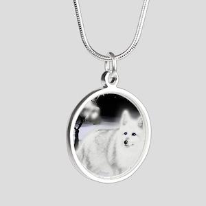 White Fox copy Silver Round Necklace
