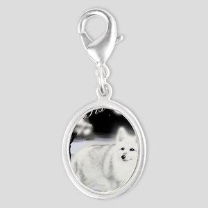 White Fox copy Silver Oval Charm