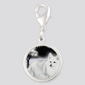 White Fox copy Silver Round Charm