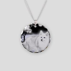 White Fox copy Necklace Circle Charm