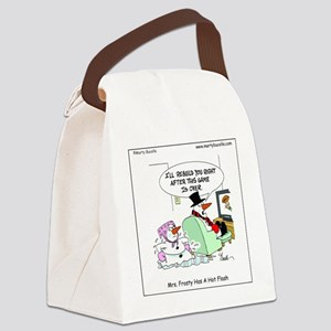 Mrs. Frosty has a hot flash Canvas Lunch Bag