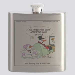 Mrs. Frosty has a hot flash Flask