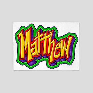 Matthew Graffiti Letters Name Desig 5'x7'Area Rug
