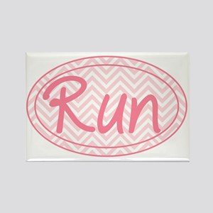 Run Pink Chevron Rectangle Magnet