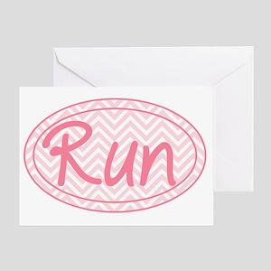 Run Pink Chevron Greeting Card