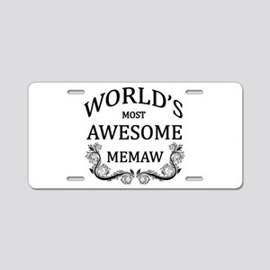 World's Most Awesome Memaw Aluminum License Plate