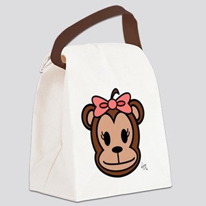 Cute Monkey girl with pink bow Canvas Lunch Bag