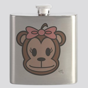 Cute Monkey girl with pink bow Flask
