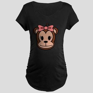 Cute Monkey girl with pink  Maternity Dark T-Shirt