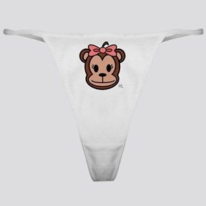 Cute Monkey girl with pink bow Classic Thong
