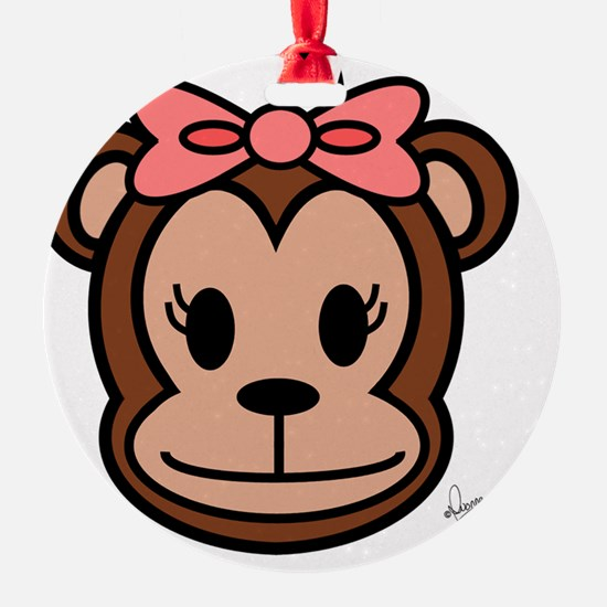 Cute Monkey girl with pink bow Ornament