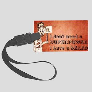 Superhero/beard/red Large Luggage Tag