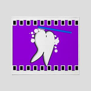tooth blanket 5 purple Throw Blanket