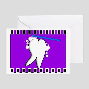 tooth blanket 5 purple Greeting Card