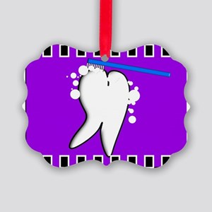 tooth blanket 5 purple Picture Ornament