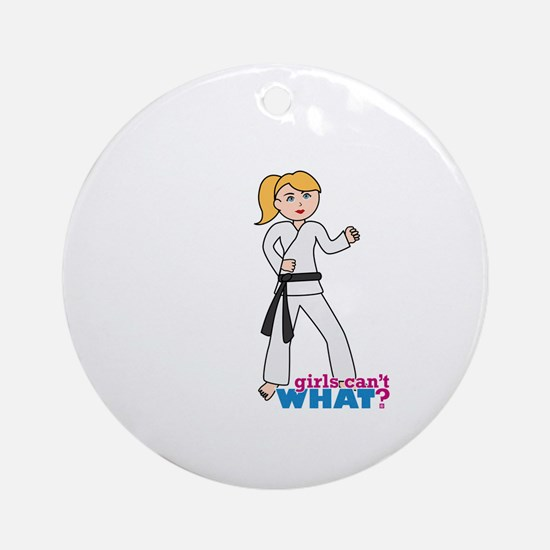 Martial Arts Girl - Ponytail Ornament (Round)