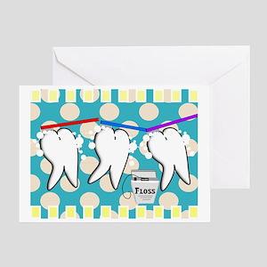 hygienist blanket blue polka dots Greeting Card