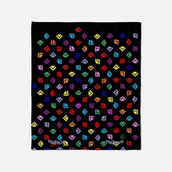 PawPrintRBblackFlipFlops-a Throw Blanket