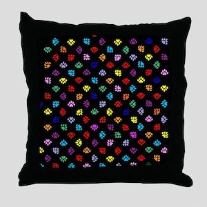 PawPrintRBblackFlipFlops-a Throw Pillow