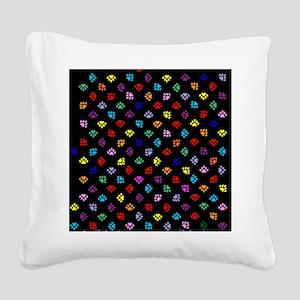 PawPrintRBblackFlipFlops-a Square Canvas Pillow